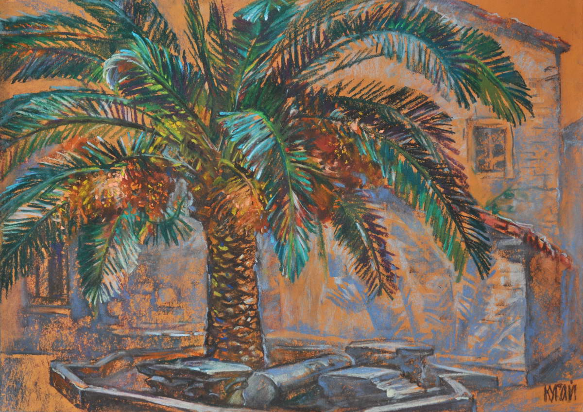"Tania Kugai ""Antique Courtyard with a Palm Tree"""
