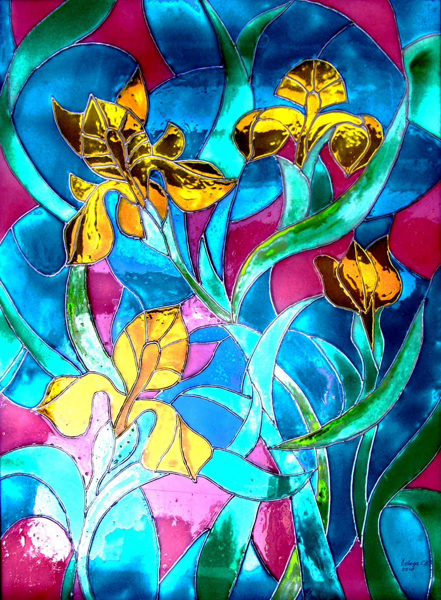 Painting on glass, stained glass imitation